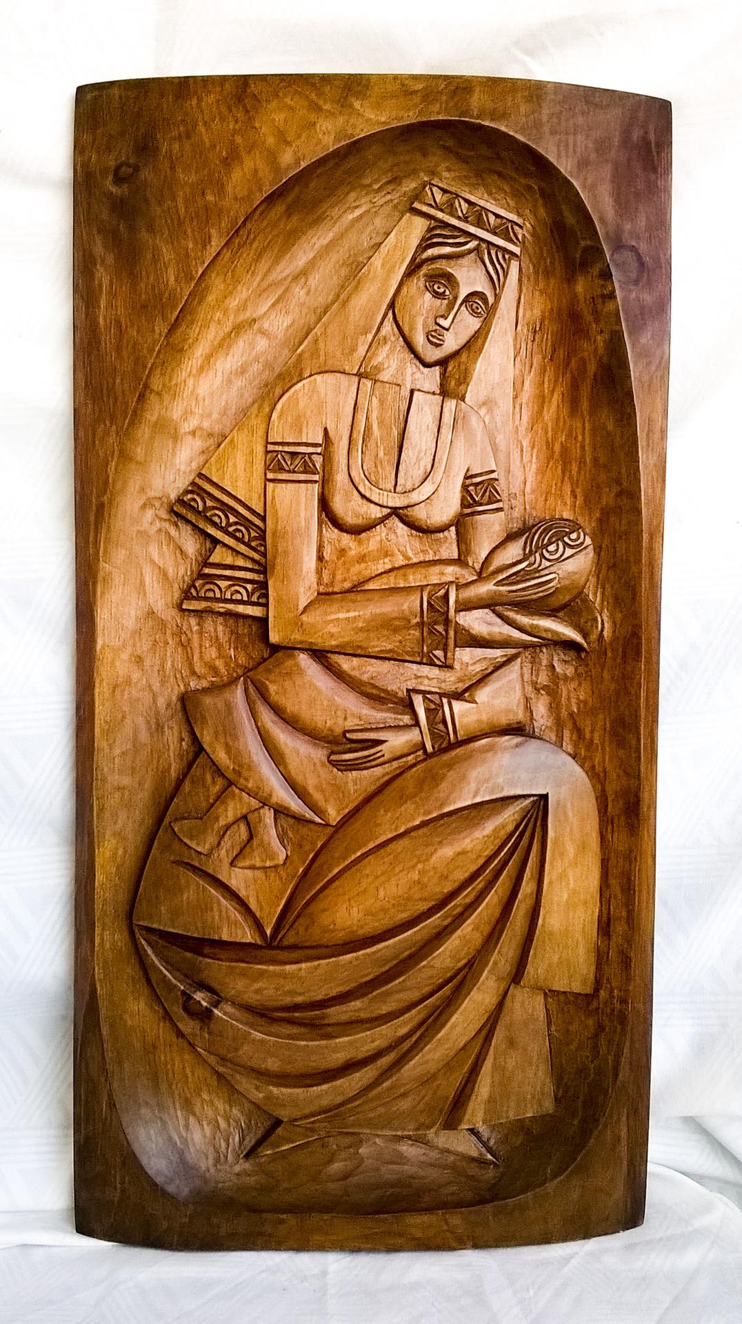пано дърворезба Мадона